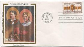 美国邮票 1983年 大都会歌剧团百年 1全 丝绸首日封FDC-I-15
