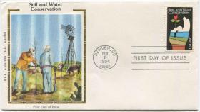 美国邮票 1984年 土地和水资源保护 1全丝绸首日封FDC-I-15
