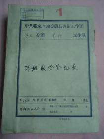 蔚县代一村阶级成分登记表