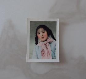 河南影像原版老照片收藏《女士半身像》手工上色背面有编号654#