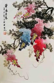 【保真】知名画家李子玉花鸟小品:紫气东来