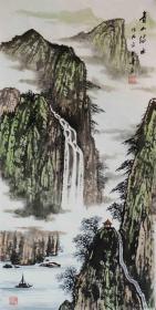 【保真】知名画家冯君涛作品:青山绿水