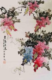 【保真】知名画家李子玉花鸟小品:紫气 东来