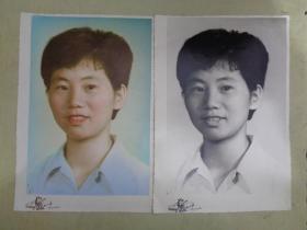 老照片:肖像(手工上色+黑白)2张合售【25*17cm】