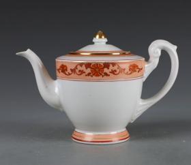景德镇567老厂货瓷器 50年代国家用瓷--凡红描金花卉茶壶