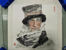 【保真 特惠】甘肃美协会员 兰州工业学院艺术设计学院副教授 吴江 小品人物卡板