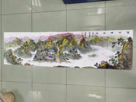 【保真】中国美术家协会会员 青州市美术家协会副主席 青州市中国山水画学会副会长 林厚成 六尺对开山水1