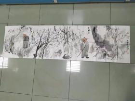 【保真 特惠】甘肃美协会员 兰州工业学院艺术设计学院副教授 吴江 六尺对开横幅 新文人画