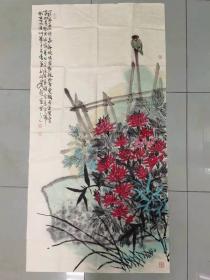 【保真 精品】中美协会员 刘新春 四尺整张重彩写意花鸟