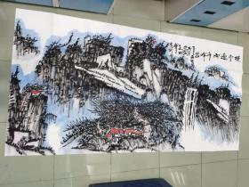 【永久保真 巨幅特惠】中美协会员 王振中艺术馆馆长 张新庆  八尺巨幅整张国画山水1
