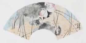 【保真】江西美协会员 中国人民大学画院计建清工作室画家 汪建新 花鸟小品卡板1