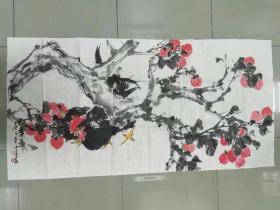 【保真】陕西美协会员 河北美院硕士 潜力青年艺术家 李云平 四尺整张写意花鸟13