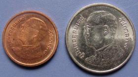 泰国硬币25分泰铢和1泰铢二枚,外国早期钱币!外国硬币!照片反光,实物更美,保真
