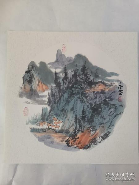 名家 国画------纯手绘------画心尺寸-----50   50厘米-------国家一级美术师,中国美协会员。56