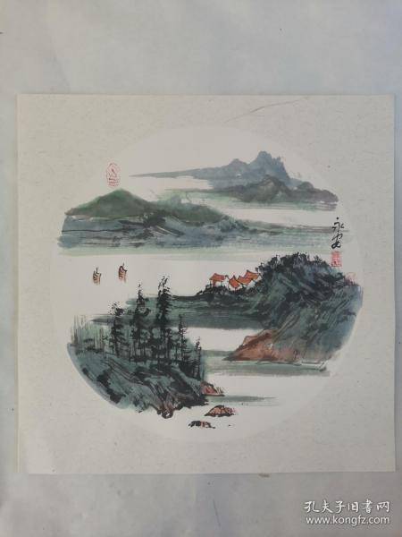 名家 国画------纯手绘------画心尺寸-----50   50厘米-------国家一级美术师,中国美协会员。48
