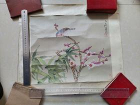 九江书画院早期作品 手绘工笔花鸟