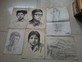 林美岚素描画六张合售