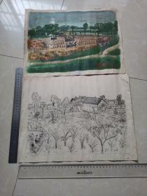 刘惠民1973年作品-丰收等两幅合售