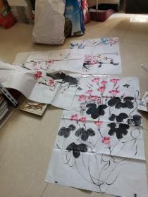 国画花卉3张合售