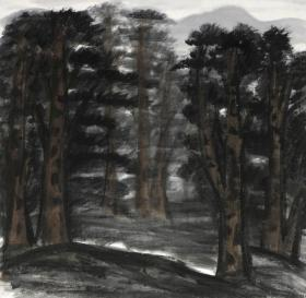 3799       林风眠                         《  林间  》纸本印刷画页  画面尺寸18.5X19厘米