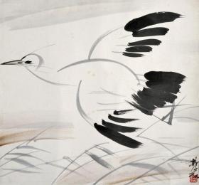 3798       林风眠                         《  苇浦白鹭  》纸本印刷画页  画面尺寸17.5X19厘米