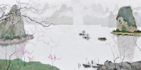 3790       庞均             《漓江春桃》           纸本印刷画页  画面尺寸40X20厘米       折页