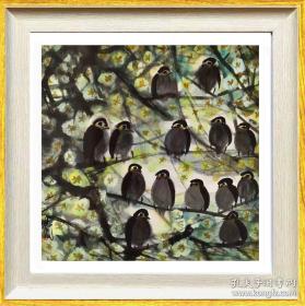 林风眠           《梅花小鸟 》                       镜框 画芯尺寸 19X19厘米      530