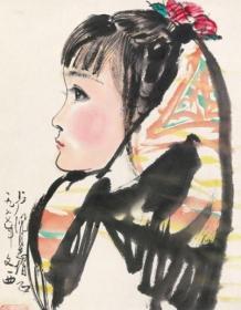 3824      刘文西                       《    少女  》纸本印刷画页  画面尺寸15.8X19.5厘米