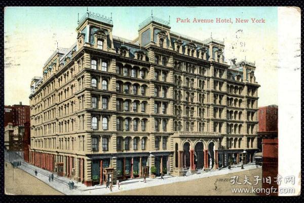 ◆ 美国明信片实寄1910年代 --------------- 伦敦公园大道酒店、贴古典1C富兰克林邮票