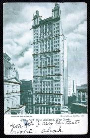 ◆ 美国明信片实寄1906年 --------------- 公园街大楼、贴古典1C富兰克林邮票