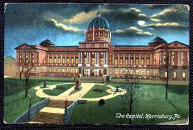 ◆ 美国明信片实寄1909年 --------------- 哈里斯首府、贴古典1C富兰克林邮票