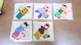 年历片:1980年儿童年历片(共5张)凹凸版,中央电视台 少年儿童节目组赠 儿童打灯卡片(没有年历,凹凸版)(共6张)(一共11枚合售)XHL