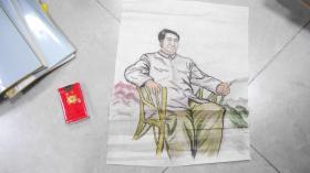 天津师范大学教授孙云 手绘中国画,毛泽东(48*32cm)两幅合售!L2