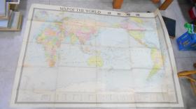 巨大张英文版:世界地图(106*160cm)1981年1版1次 Y1