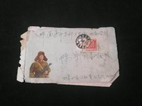 信封实寄封:贴邮票带厂铭普13(7)8分(北京建筑:人民大会堂)(美术封:雷锋)(6385部队信纸4页)(1967年)