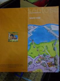 SENTOSA ISLAND MAP新加坡圣淘沙岛地图 手绘版 2007年 4开折页 英文版 快餐和小吃、餐馆、海滩酒吧、便利店、景点、住宿和水疗等索引表。岛上巴士线路图。