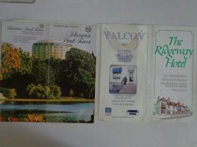 英国两城市三酒店折页(伦敦猎鹰酒店、喜来登公园大厦酒店,林肯里奇韦酒店) 80年代 16开