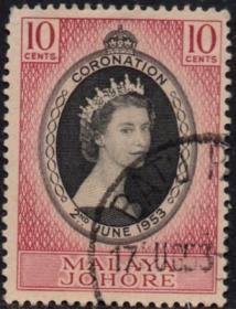 英联邦邮票,马来亚柔佛州1953年伊丽莎白二世女王加冕,信销1全5