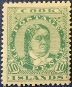 英联邦邮票H,英属库克群岛1893年Makea Takau皇后,最高值