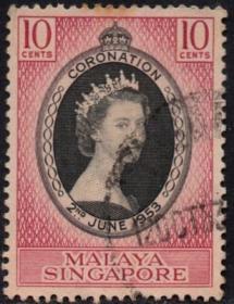 英联邦邮票,马来亚新加坡1953年伊丽莎白二世女王加冕,1全信销8