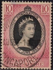 英联邦邮票,马来亚新加坡1953年伊丽莎白二世女王加冕,信销1全5