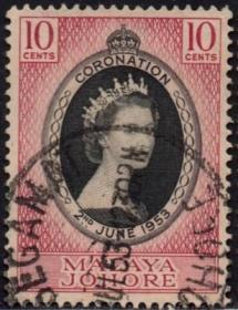 英联邦邮票,马来亚柔佛州1953年伊丽莎白二世女王加冕,信销1全6