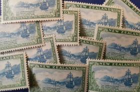 英联邦邮票G,新西兰1948年奥塔哥省定居点,探险发现帆船 一枚价