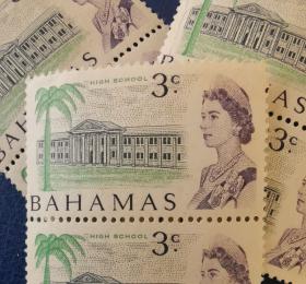 英联邦邮票H,巴哈马1967年女王与高中学校,教育、建筑,一枚价