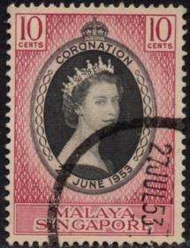 英联邦邮票,马来亚新加坡1953年伊丽莎白二世女王加冕,信销1全2