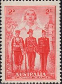 英联邦邮票,澳大利亚1940年参与二战,护士、水手、士兵和飞行员
