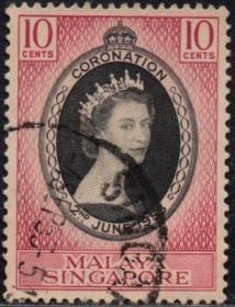 英联邦邮票,马来亚新加坡1953年伊丽莎白二世女王加冕,信销1全8