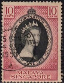 英联邦邮票,马来亚新加坡1953年伊丽莎白二世女王加冕,信销1全6