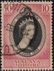 英联邦邮票,马来亚柔佛州1953年伊丽莎白二世女王加冕,信销1全8