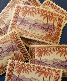英联邦邮票H,英属库克群岛1949年阿汤吉亚海峡鱼叉捕鱼的人 一枚